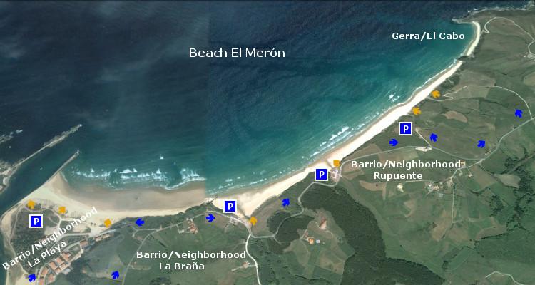 Playa El Merón, acceso, access