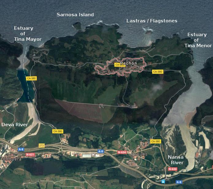 Pechón, map