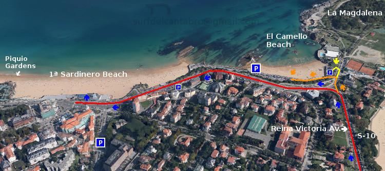 Acceso: Primera Playa del Sardinero, acceso. First Sardinero Beach, access