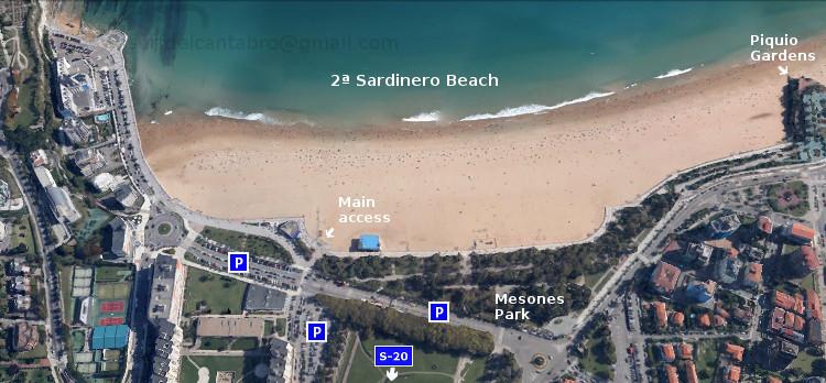 Acceso: Segunda playa del Sardinero. Access: Second Sardinero Beach