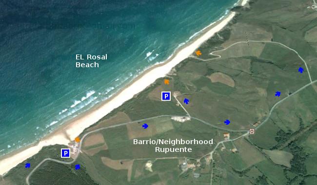 Acceso,  Playa EL Rosal