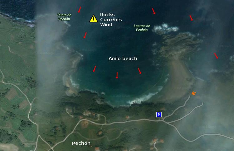 Amió beach: access