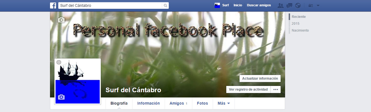 Personal facebook Place Profile