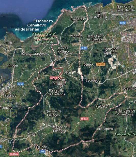 Piélagos, map